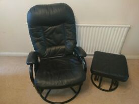 FAUX LEATHER RECLINING / SWIVELLING SEAT WITH FOOT STOOL