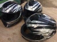 3 black and sliver motor bike helmets £15