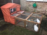 Rabbit hutch, run and waterproof cover