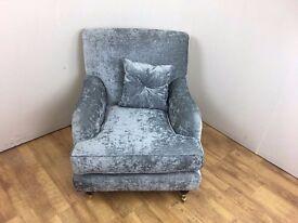 Silver Satin Velvet Fabric Reading Chair