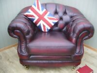 Stunning Thomas Lloyd Oxblood Leather Chesterfield Club Chair.