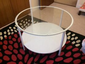Ikea round white coffee table for sale