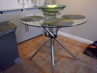 ROUND GLASS + CHROME KITCHEN TABLE 90cm diameter. COLLECTION ONLY SWINDON SN25