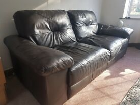 3 Seat Dark Brown Soft Leather Sofa