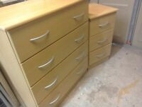 Matching chest of drawers and bedside cabinet.