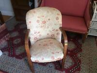 Charming & Elegant Mid Century Oak Framed Occasional Chair