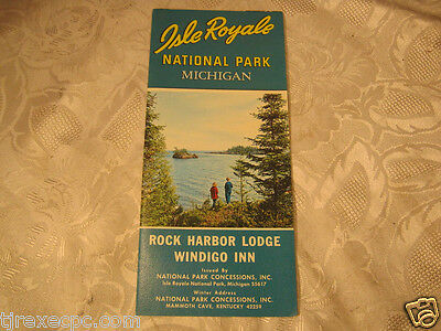 Isle Royal National Park Mich Rock Harbor Lodge Windigo Inn Pamphlet vintage
