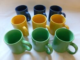 9 Mugs : Blue / Green / Yellow