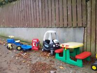 Little tikes car, tractor, picnic table, petrol pump