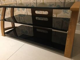 Jual Solid Curved Oak TV Stand with three black gloss glass shelves