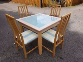Solid Wood & White Glass Dining Table 90cm & 4 Tapley Chairs FREE DELIVERY 828