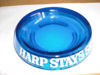 """HARP BLUE GLASS ' STAYS SHARP ' ASHTRAY 6"""" dia x1"""" high - NEVER BEEN USED"""