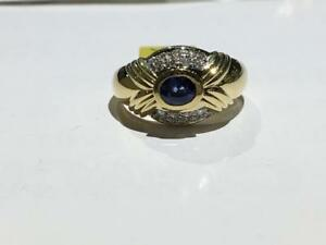 #1363 18K LADIES SAPPHIRE DIAMOND RING SIZE 8 1/2. **JUST BACK FROM APPRAISAL AT $4550.00 SELLING FOR ONLY $1395.00**