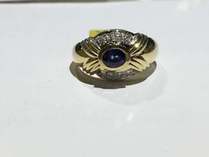 #113 18K LADIES SAPPHIRE DIAMOND RING SIZE 8 1/2. **JUST BACK FROM APPRAISAL AT $4550.00 SELLING FOR ONLY $1395.00**