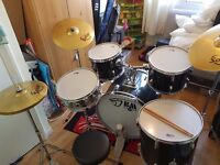 Black Mamba Drum Kit And Solar by Sabian Cymbals, Excellent Condition