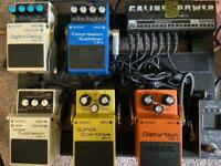 Guitar boss effects pedals and board