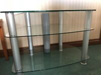 Glass and Chrome 3 shelf TV stand