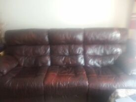 3 and 2 seater leather recliner sofas in mahogany colour