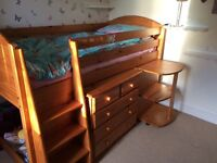 Cabin bed mid sleeper solid pine bookcase desk and drawers