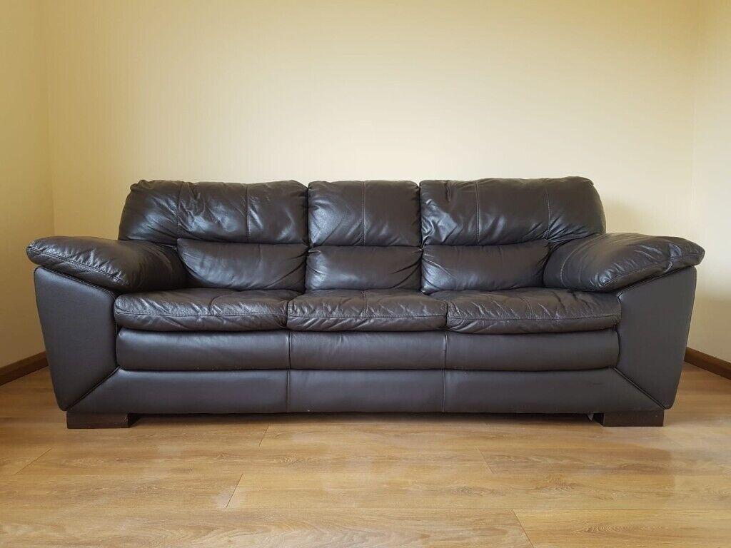 Pleasing 3 Seater Leather Dark Brown Sofa In Shrewsbury Shropshire Gumtree Ncnpc Chair Design For Home Ncnpcorg