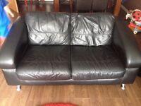 3 piece black leather DFS sofa excellent condition