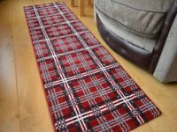 Tartan Designer Red/Silver/Grey Checked Rug Hall Runner 26 x 90 inches - Brand New