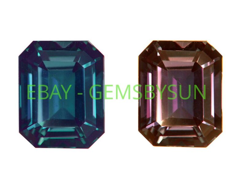 Lab Created Pulled Alexandrite True Color Change Octagon Loose Stone (4x2-30x20)