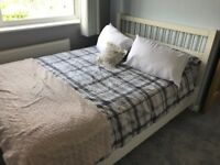 Ikea white double bed and mattress