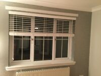 White wooden Venetian blind and fittings £30, excellent condition. Width 68inches x 51 inches long