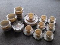 Pyrex tea set and dinner plates. Cream with brown tree pattern. 45 pieces