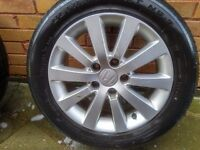 Honda 16 inch Alloy Rims with Tyres - 4mm Tread 205/55R16