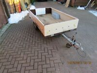 8ft x 4ft Lightweight Trailer with cover, with new spare wheel & jocky wheal, tows great