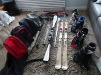 Ski's, Blades, Boots and Bags