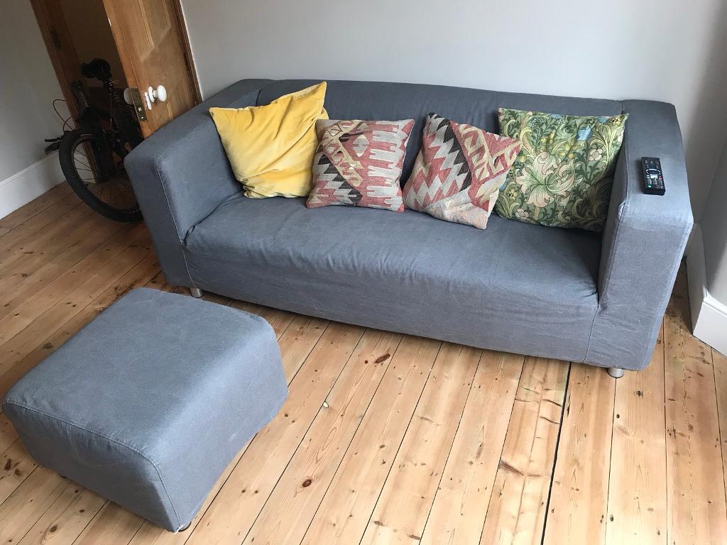 Ikea Klippan Sofa & Footstool
