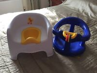 Blue baby bath seat and toddler potty seat