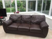 Large brown leather sofa for sale- Great condition