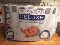 Air wrap deluxe breathable padded washable white cot bumper