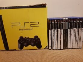PLAYSTATION 2 SLIM BOXED WITH 13 GAMES 2 CONTROLLERS 3 MEMORY CARDS AND PS2 TO HDMI CONVERTER