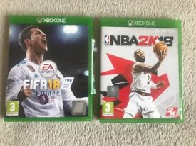 Fifa 18 and/or NBA 2K18 for sale (xbox 1)