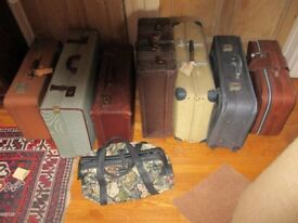 job lot vintage suitcases and carpet bag. Use as luggage, storage, play props, display, historical,