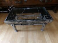 Gothic Metal Coffee Table With Spiders And Cobwebs
