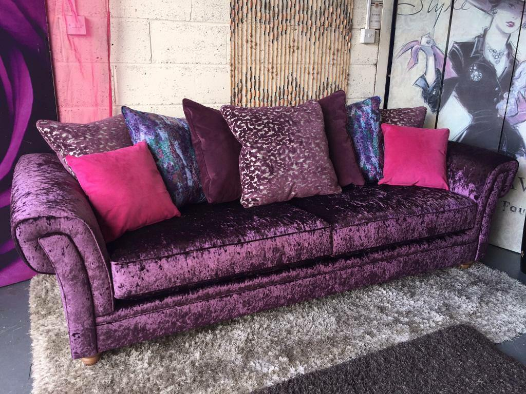 New Crushed Velvet Fabric Scatter Back Cushions 4 Seater Sofa In Purple