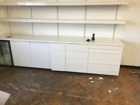 Office / kitchen units - never fitted & fridge