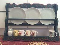 Handmade wooden painted plate rack