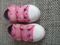 Baby girl's Mothercare pink canvas shoes size 4