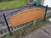 Super kingsize slatted metal bed frame with wicker headboard