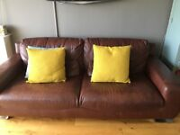 2 brown leather sofa seatees - v good condition , quick sale and removal required