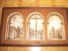 Triptych of Christs crucifixion at the Mount of Olives