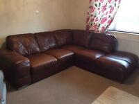 LEATHER CORNER SOFA RRP £3000 as new