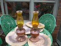 2 antique oil lamps - need restoring